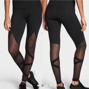 VS Sport Knockout Tights Black Mesh Ribbon NWT